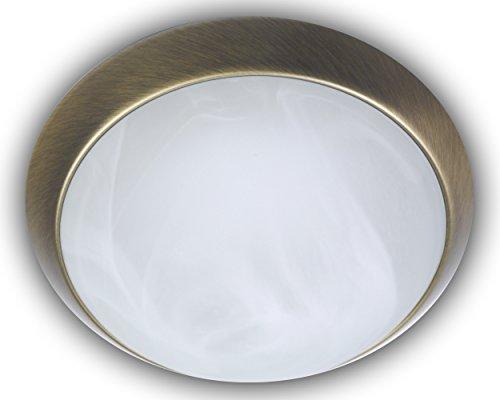 Niermann Standby 17112 A++, Deckenleuchte, Dekorring Altmessing, LED, Alabaster Art, 30 x 30 x 11 cm