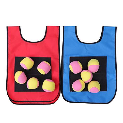 Toyvian 12pcs Juego de Pelota para Niños Pegajoso Chaleco de Destino con 10 Bolas de Mano Accesorios de Juegos al Aire Libre para niños