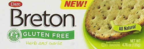 Dare Breton Gluten Free Crackers, Herb and Garlic, 4.76 Ounce (Pack of 6) by Dare