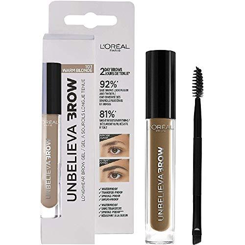 L'Oréal Paris Unbelievabrow, Gel per Sopracciglia a Lunga Tenuta Waterproof, Colore Warm Blonde (103), 3.4 ml