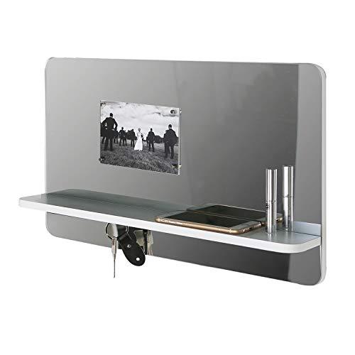Casablanca Spiegel- Memo- Schlüsselboard - aus MDF in Weiß Silber H 30 cm B 50