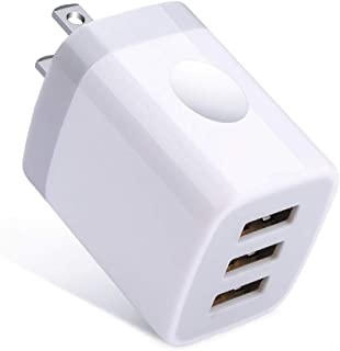 Wall Charger Plug, Sixsim 3.1A/5V 3-Muti Port USB Charger Cube Phone Charger Box Charging Block Base Brick Compatible for XS XR X 8 7 6 Plus, iPad, Samsung Galaxy S9 S8 S7 S6, LG, HTC, Sony, Android