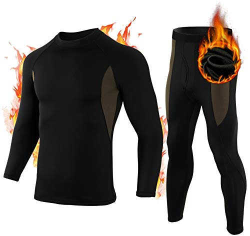 Men's Thermal Underwear Set Compression Base Layer Men Cold Weather Fleece Ski Sport Long Johns Shirt for Men Boys, Black 2XL