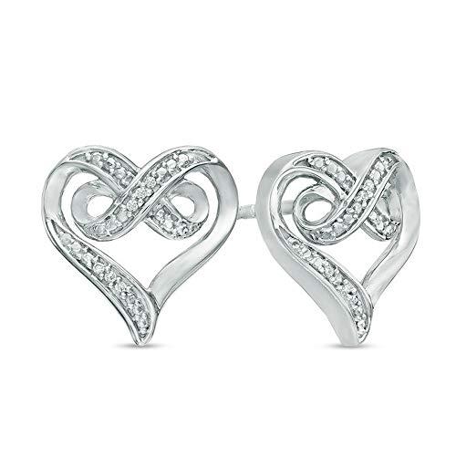 2Hearts Pendientes de botón de corazón infinito con acento de diamante CZ transparente de corte redondo 0.30CT para mujer en plata de ley 925
