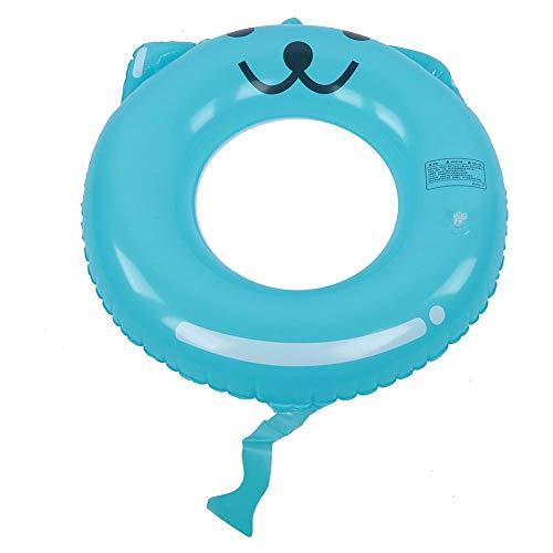 Anillo de natación con forma de dibujos animados, círculo inflable, anillo de natación con gato azul, aros salvavidas para niños, animales lindos, cama flotante, piscina, juguetes de verano(70cm)