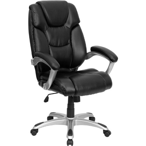 Flash Furniture High Back Black LeatherSoft Layered Upholstered Executive Swivel Ergonomic Office Chair with Silver Nylon Base and Arms, BIFMA Certified