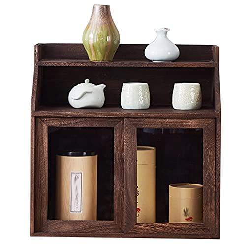 Schmuckkästen Desktop Aufbewahrungsbox Teekanne Und Teeset Schrank Dekorationsvitrine Kosmetikaufbewahrungsbox Kaffeetasse Teetasse Und Becheraufbewahrungsschrank (Color : Brown, Size : 45×24.5×45cm)