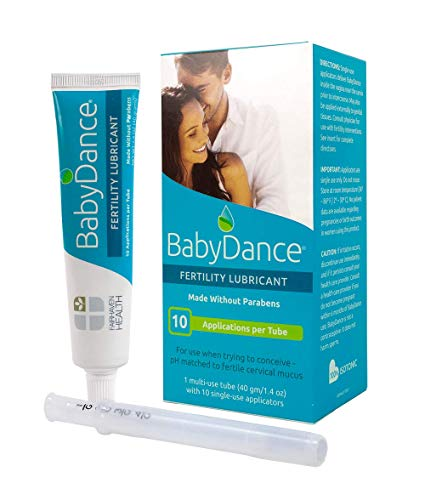 BabyDance Fertility Lubricant, Sperm-Friendly and Safe Lube for Couples Trying to Get Pregnant, Made Without Parabens, Lubricate Without Harming Sperm or Eggs, 40 Gram Multi-Use Tube, 10 Applicators