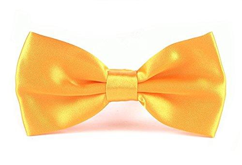 N. N. Einfarbige Herren Fliegen (in 35 verschiedenen Farben) - vorgebunden mit Hakenverschluss (verstellbar) (Gelb)