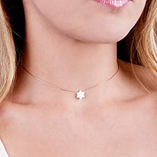 White Opal Magen David On Thin Rose Gold Filled Choker Necklace - David Star Collar Chain - Length: 13.5 inch + 3 inch Extender