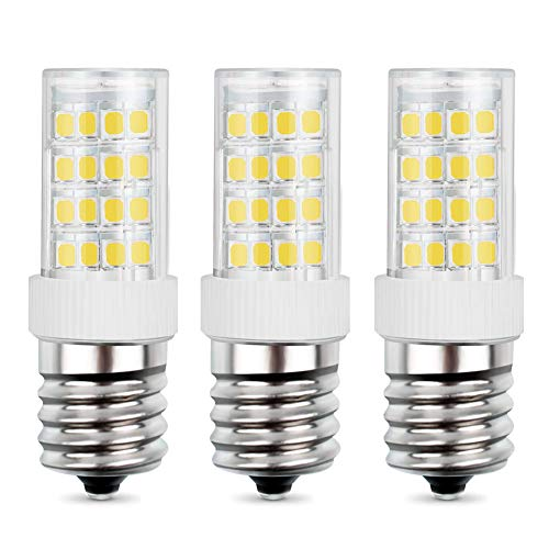 LED Microwave Appliance Light Bulb for Refrigerator Range Hood Over Stove Equivalent 40W Incandescent Bulb E17 Intermediate Screw Base 120V 5W 450LM Daylight White 6000K Non-Dimmable Pack of 3