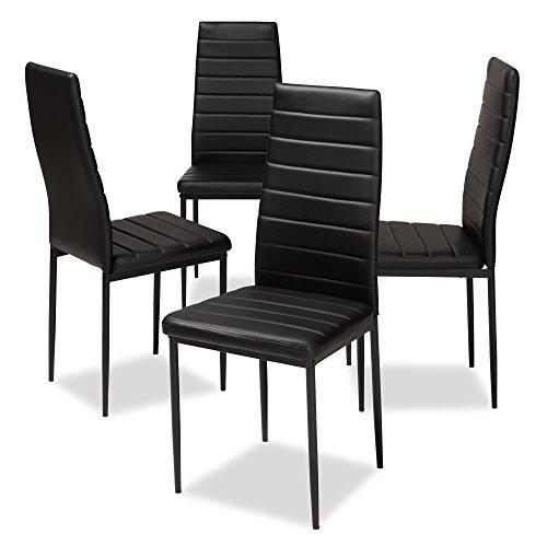 Baxton Studio Armand - Juego de 4 sillas de Comedor tapizadas (Piel sintética), diseño Moderno y contemporáneo, Color Negro