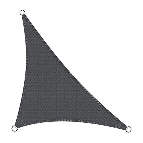 Cool Area Toldo Vela de Sombra triángulo rectángulo 5 x 5 x 7,1 Metros Protección Rayos UV, Resistente y Transpirable para Patio Exteriores Jardín, Color Grafito