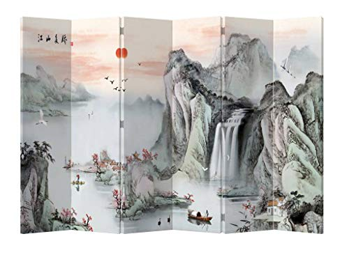 Fine Asianliving Paravent Raumteiler Trennwand Spanische Wand Raumtrenner Sichtschutz Japanisch Orientalisch Chinesisch L120xH180cm Bedruckte Canvas Leinwand Doppelseitig Asiatisch - 203-160