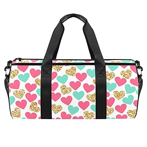 Sport Bag Viaggio Duffel Palestra Bag per le Donne Uomini Viaggio Sport Duffel Bag per Allenamento Floreali pattern03, Modello di cuori colorati, 45x23x23cm/17.7x9x9in,