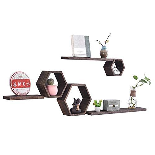 LHY Estante de pared sólido estante de madera TV fondo decoración marco sala de estar práctico