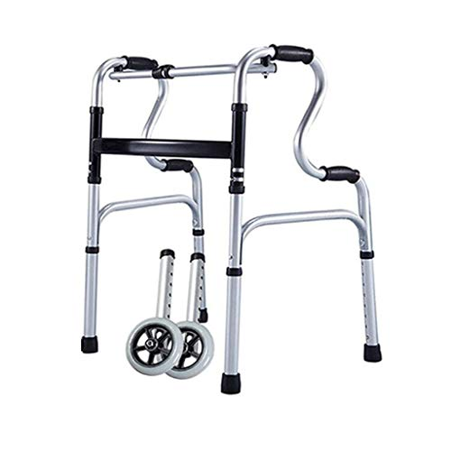 Silla de baño de rehabilitación de pie Andador plegable para ancianos Aleación de aluminio Marco de pasamanos plegable ligero para personas mayores con muleta de asiento (Color: Con ruedas)
