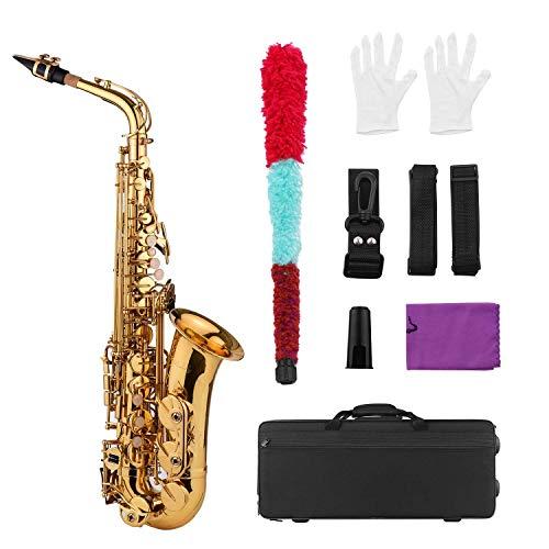 JJmooer Golden Eb Altsaxophon Saxophon Messing Korpus Weiße Muscheltasten Holzblasinstrument mit Tragetasche Handschuhe Putztuchbürste Saxophon Halsgurte