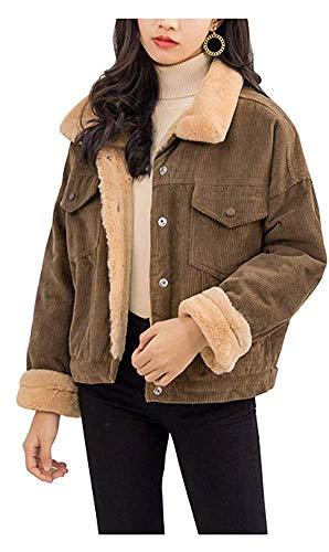 CYSTYLE Winter Retro Vintage Damen Fleece gefüttert Cordjacke Freizeit Warm Jacken Oberteile Casual Langarm Outwear (Braun, S)