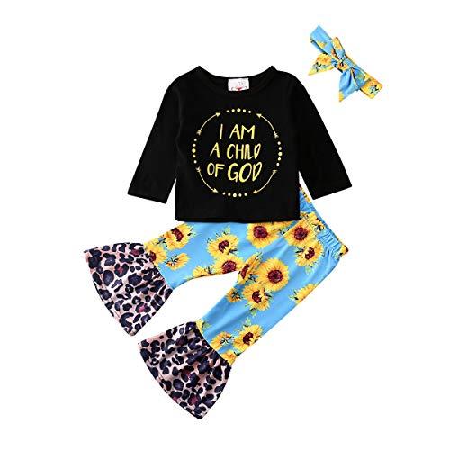 Wide.ling Leuke Kids Baby Meisje Kleding Lange Mouwen Tops Zonnebloem Print Flared Broek Bell-Bottom Broek Hoofdband 3 Stks Outfits Set