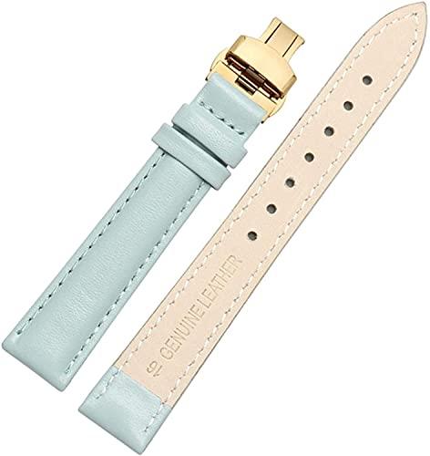 PINGZG Correa de Reloj de Cuero 14mm / 16mm / 18mm / 20 mm. Pulsera de Reloj de Relojes para Mujer Banda de Mariposa Cierre de Banda rápida, cómodo Transpirable (Color : Sky Blue Gold, Size : 14mm)