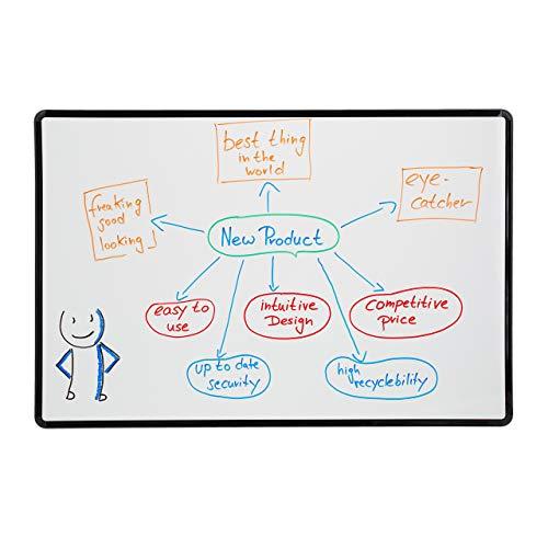 Relaxdays Whiteboard magnetisch, Magnettafel beschreibbar, zum Aufhängen, Kunststoff-Rahmen, Memoboard HB 60x90 cm, weiß, 1 Stück