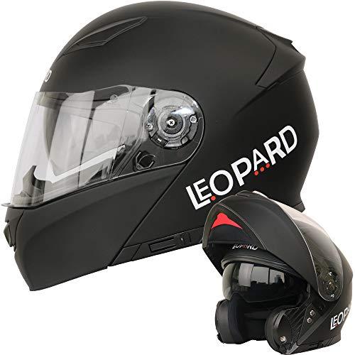 Leopard LEO-888 Klapphelm Integralhelm mit Doppelvisier #1 Mattschwarz S (55-56cm) Motorradhelm Damen und Herren ECE Genehmigt