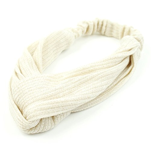 rougecaramel - Accessoires cheveux - Headband/Bandeau serre tête entrecroisé en tissu - ivoire
