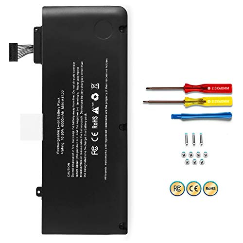 POWERWOO A1322 A1278 Battery for Apple MacBook pro 13 '' 2009 2010 2011 2012 with 6000mAh Newer Tech (MC374LL/A MB990LL/A MB991LL/A MC700LL/A MD313LL/A MD101LL/A MD102LL/A Battery)[ 10.95V /65.7Wh]