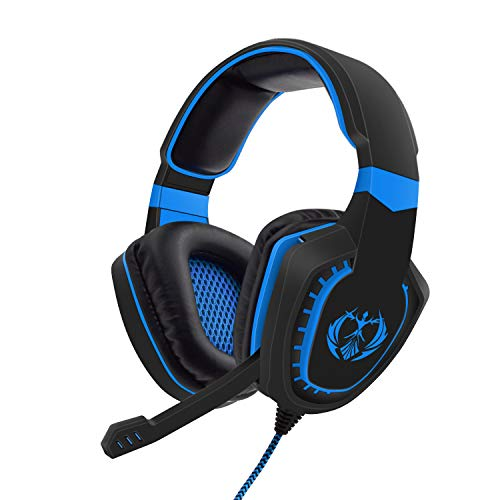 Anivia Gaming Headphones PS4 Gaming Headset with Mic Compatible with PC Computers, Playstation PS4 Xbox One Controller, Android, iOS Laptop, Smartphone, Tablet(Black Blue)