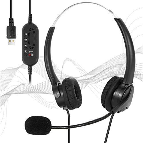 Jinxuny USB-Headset mit Geräuschunterdrückendem Mikrofon Und Inline-Steuerung Leichtem Kabelgebundenem PC-Headset-Kopfhörer Business-Headset für Skype Webinar Handy Callcenter