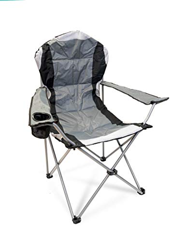 Hyfive Folding Camping Chairs Heavy Duty Luxury Padded with Cup Holder High Back - Grey - 1 Chair