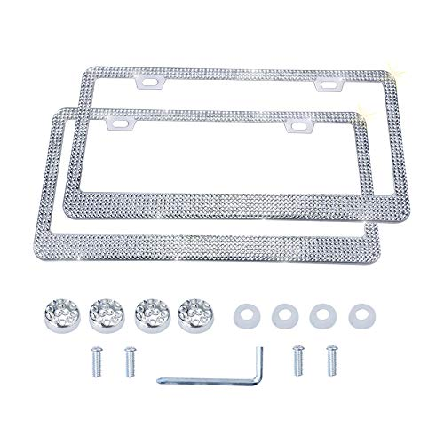 LivTee Luxury Rhinestone License Plate Frame Bling Car Accessories for Women, Funny Glitter Stainless Steel Cover 1000+ Cute Crystal Diamond Licenses Plates Holder with Cap Screws Set(White)