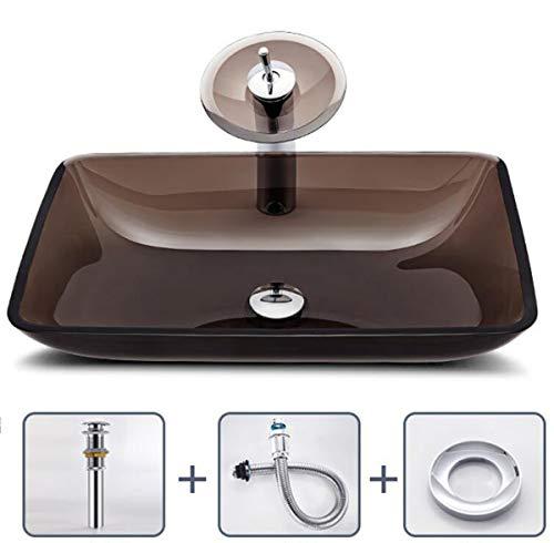 NANXCYR badkamer artistieke vaartuig wastafel modern gehard glas rechthoek wastafel waskom met pop-up afvoer set en waterval kraanset