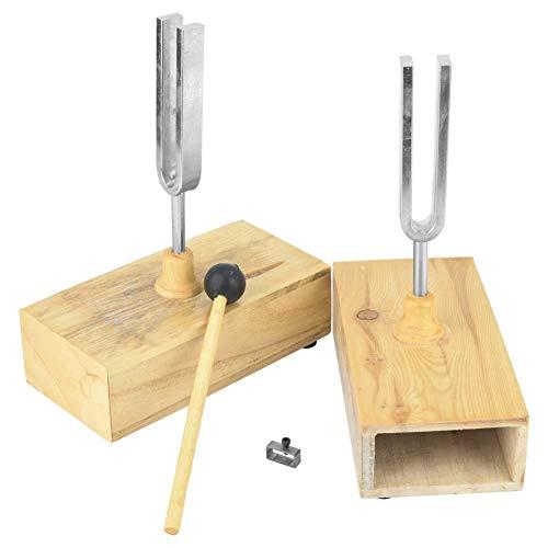 XiangXin Virbration Stimmgabel, Stimmstange aus Kohlenstoffstahl Physikalisches Versuchsinstrument mit Holzresonator Box Knocker Musikstimmzubehör für die Schule