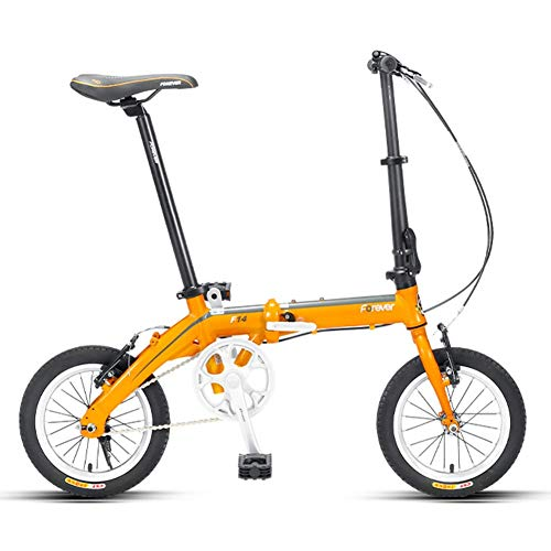 "Xiaoyue Mini Faltrad, Erwachsene 14\"" Single Speed faltbares Fahrrad, Junior School Students Leichtgewichtler Faltrad, leichte, tragbare, Gelb lalay (Color : Yellow)"