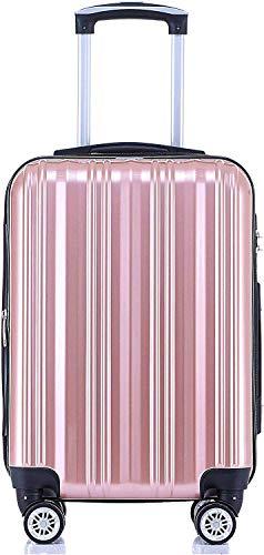 Münicase TSA-Schloß Koffer Reisekoffer Trolley Kofferset (Rosa Gold, Kleiner Koffer (ca.54cm))