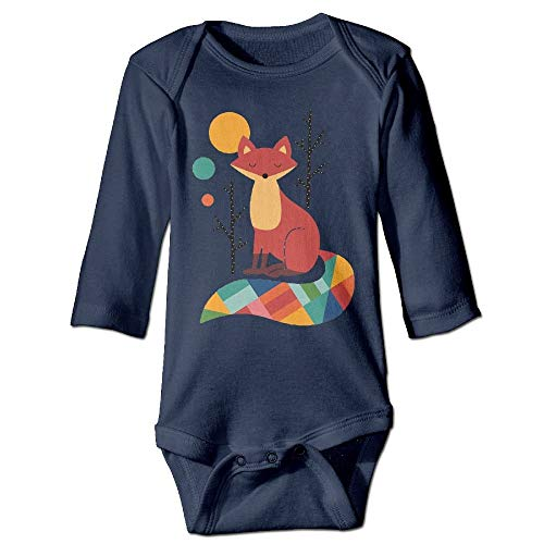 FULIYA Body de manga larga para bebé, unisex, para recién nacido, con diseño de zorro colorido para niños, de manga larga, color azul marino