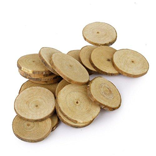 LUOEM 40 discos de madera redondos de 5-6 cm, para manualidades, bodas, centros de mesa
