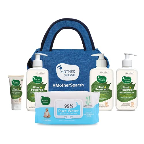 Mother Sparsh Derma Tested Baby Skin Care Kit with Baby Wash, Baby Lotion, Baby Shampoo, 99% Pure Water Baby Wipes and Diaper Rash Cream in Amazing Blue Denim Bag
