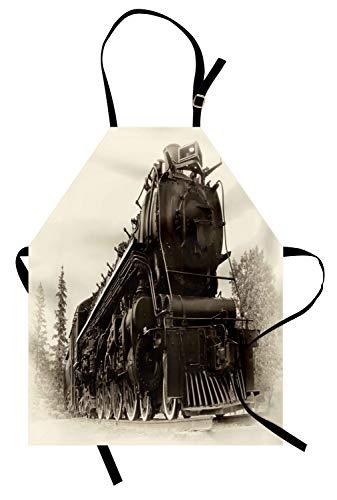 ABAKUHAUS Máquina De Vapor Delantal de Cocina, Arte Antiguo Tren, Altura Ajustable Lavable Sus Colores No Destiñen, Gris Oscuro