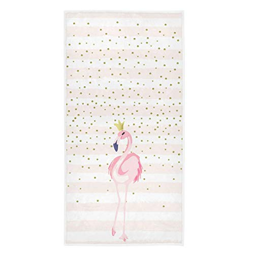 Naanle Beautiful Flamingo with Crown Golden Dots Soft Highly Absorbent Guest Large Home Decorative Hand Towels Multipurpose for Bathroom, Hotel, Gym and Spa (16 x 30 Inches)