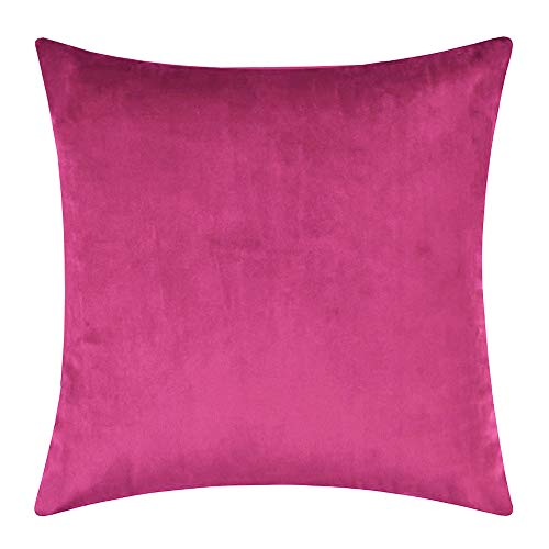 BlueCosto Decorative Velvet Cushion Cover Throw Pillow Covers Square Pillowcase for Sofa Bedroom Livingroom Car 45cm x 45cm, 18x18 inch, Pack of 1 Rose