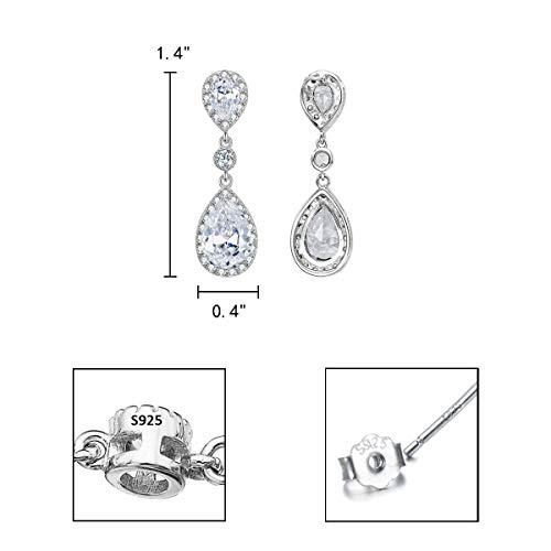 EleQueen 925 Sterling Silver Full Prong Cubic Zirconia Birthstone Teardrop Bridal Dangle Earrings Clear