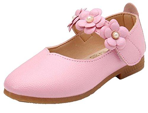 WUIWUIYU Filles Ballerines Chaussures de Princesse étudiants Marche Simple Léger Confortable- Rose 24