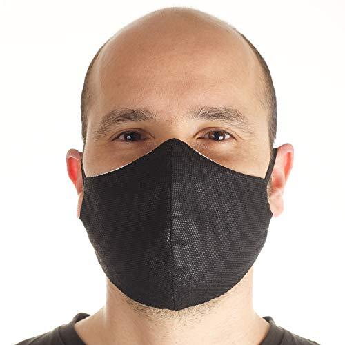 3 Stück Masken Schutzmaske für Mund und Nase, Baumwoll-und TNT-Masken, Wiederverwendbare Unisex Waschbare Maske Staubmaske Zwei Größen Dünn und Groß - Made in Italy (Ohren:Large,Schwarz)