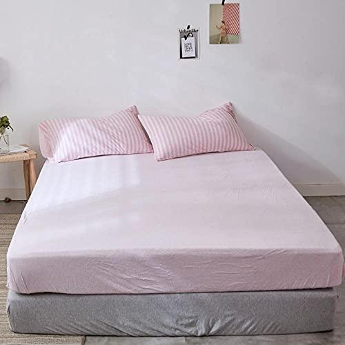 FJMLAY Sábanas ajustablesperfecto para el colchón, sensación Suave,Sábanas de algodón, Almohadillas de protección Antideslizantes para Apartamentos de Dormitorio-Pink_1_200cmx220cm