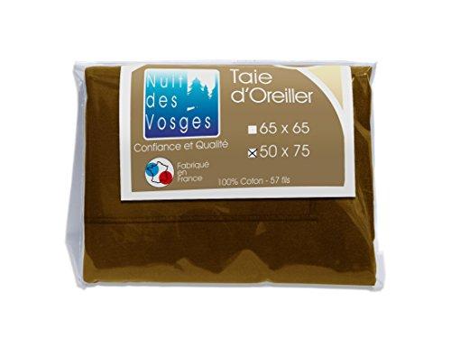 Nuit des Vosges 2095814 Cotoval Taie d'Oreiller Uni Coton Chocolat 50 x 75 cm