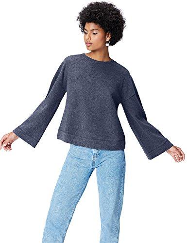 Amazon-Marke: find. Sweatshirt Damen gerippt mit Glockenärmeln, Blau (Maritime Blue), 36, Label: S