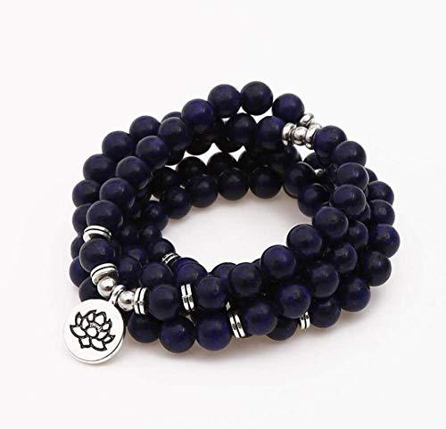 Natuurlijke stenen armband, kralen armband 108 mode yoga energie kralen armband 8 mm donkerblauw Lapis mat Lotus hanger trui ketting stretch kraal armband sieraden gepersonaliseerde kleding accessoires